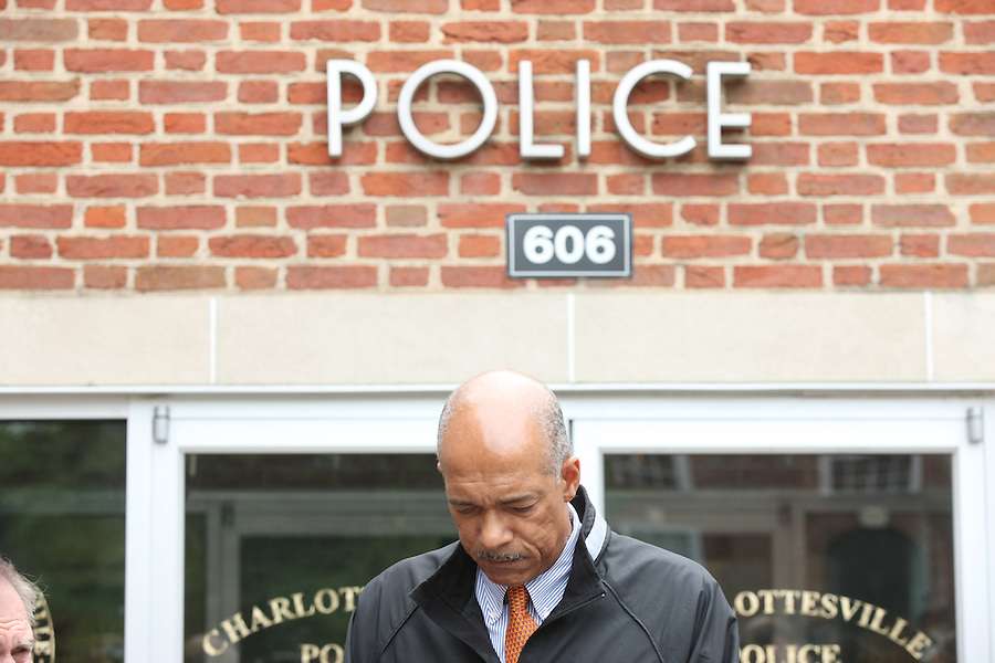 Virginia Athletics Director Craig Littlepaige gets emotional about University of Virginia men's lacrosse player George Huguely, 22, a fourth-year student from Chevy Chase, Md., who has been charged with first-degree murder in the death of a UVa women's lacrosse player Yeardley Love, 22, a fourth-year student from Cockeysville, Md.,  Monday May 3, 2010 during a press conference in Charlottesville, Va. The alleged incident happened early Monday morning in the Yeardley's apartment located near the University of Virginia. Photo/Andrew Shurtleff.