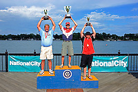 26  July, 2009, Trenton, Michigan USA.(LtoR) Kris Shepard (#46, 2nd) SST-120 World Champion Jay Fox (#19) and Johnny Fleming (#9, 3rd)..©2009 F.Peirce Williams USA.SST-120 class
