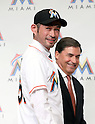(F-B) Ichiro Suzuki (Marlins), John Boggs, JANUARY 29, 2015 - MLB : Miami Marlins newly signed outfielder Ichiro Suzuki (front) and John Boggs (back) attend an introductory news conference at the Capitol Hotel Tokyu in Tokyo, Japan. (Photo by Motoo Naka/AFLO)
