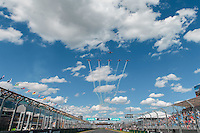 March 20, 2016: The RAAF Roulettes aerobatic planes fly over the main straight prior to the 2016 Australian Formula One Grand Prix at Albert Park, Melbourne, Australia. Photo Sydney Low