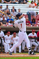 Milwaukee Brewers outfielder Ryan Braun (1) during a rehab appearance with the Wisconsin Timber Rattlers in game one of a Midwest League doubleheader against the Kane County Cougars on June 23, 2017 at Fox Cities Stadium in Appleton, Wisconsin.  Kane County defeated Wisconsin 4-3. (Brad Krause/Krause Sports Photography)