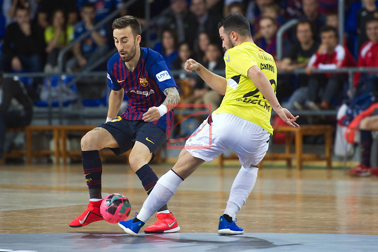 League LNFS 2018/2019 - Game 29.<br /> FC Barcelona Lassa vs Viña Albali Valdepeñas: 5-1.<br /> Mario Rivillos vs Chino.