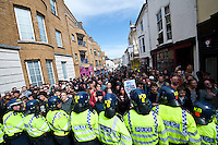 EDL-MFE march and counterprotest in Brighton 22-4-12 Local anti fascists mobilise in Brighton to disrupt a march by the racist March for England with their English Defence League supporters. There was several clashes with the Police throughout the day.