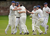 Cricket Scotland - Scottish Championship Grand Final - Watsonians CC V Dumfries CC- at Grange Loan (Edinburgh) - so near but not close enough - early innings sucess for Dumfries as they celebrate a wicket - Watsonians won the match - 08.9.12 - 07702 319 738 - clanmacleod@btinternet.com - www.donald-macleod.com