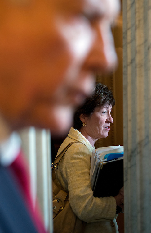 UNITED STATES - JULY 31:  Sens. Sue Collins, R-Me., and Orrin Hatch, R-Utah, talk with reporters before the senate luncheons in the Capitol.  (Photo By Tom Williams/CQ Roll Call)