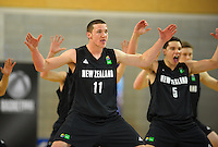 Tom Vodanovich (left) and Delroi Heu perform the haka during the 2012 FIBA Oceania Men's U19 Championship match between NZ Junior Tall Blacks and Australian Emus at Te Rauparaha Arena, Porirua, Wellington, New Zealand on Saturday, 22 September 2012. Photo: Dave Lintott / lintottphoto.co.nz