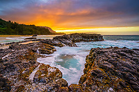 rugged lava shoreline at sunset, Lumahai Beach, Kauai, Hawaii, USA, Pacific Ocean