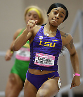 NWA Democrat-Gazette/ANDY SHUPE<br /> LSU's Sha'Carri Richardson competes Saturday, Feb. 9, 2019, in the 200 meters during the Tyson Invitational in the Randal Tyson Track Center in Fayetteville. Visit nwadg.com/photos to see more photographs from the meet.