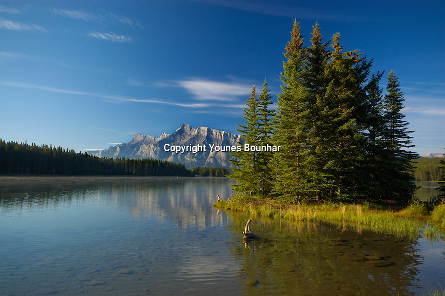 Early morning at Two Jack lake with Mount Rundle in the background