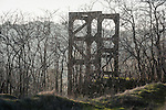 Historic concrete headframe of the Treasure Hill mine, Amador County, Calif.