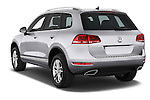 Car pictures of rear three quarter view of a 2014 Volkswagen Touareg Hybrid 5 Door SUV 2WD Angular Rear