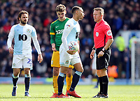 Blackburn Rovers' Elliott Bennett remonstrates with Referee Oliver Langford<br /> <br /> Photographer Rich Linley/CameraSport<br /> <br /> The EFL Sky Bet Championship - Blackburn Rovers v Preston North End - Saturday 9th March 2019 - Ewood Park - Blackburn<br /> <br /> World Copyright © 2019 CameraSport. All rights reserved. 43 Linden Ave. Countesthorpe. Leicester. England. LE8 5PG - Tel: +44 (0) 116 277 4147 - admin@camerasport.com - www.camerasport.com
