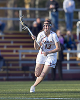 Boston College attacker Ginny Gummersall (13) on the attack. University at Albany defeated Boston College, 11-10, at Newton Campus Field, on March 30, 2011.
