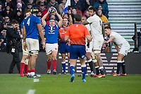 Twickenham, United Kingdom. 7th February, French Hooker and captain, Gilhem GUIRADO,. throws in, during the England vs France, 2019 Guinness Six Nations Rugby Match   played at  the  RFU Stadium, Twickenham, England, <br /> &copy; PeterSPURRIER: Intersport Images