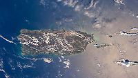 High altitude view of the entire island of Puerto Rico