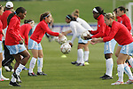 11 April 2009: Chicago's Lindsay Tarpley (5) tosses the ball to teammate Ifeoma Dieke (SCO) (left) as Chicago warms up before the game. The Washington Freedom played the Chicago Red Stars to a 1-1 tie at the Maryland SoccerPlex in Boyds, Maryland in a regular season Women's Professional Soccer game.