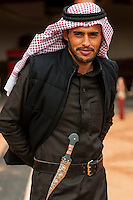 Bedouin man with a dagger on his belt, Captain's Desert Camp, Wadi Rum (in the Arabian Desert), Jordan