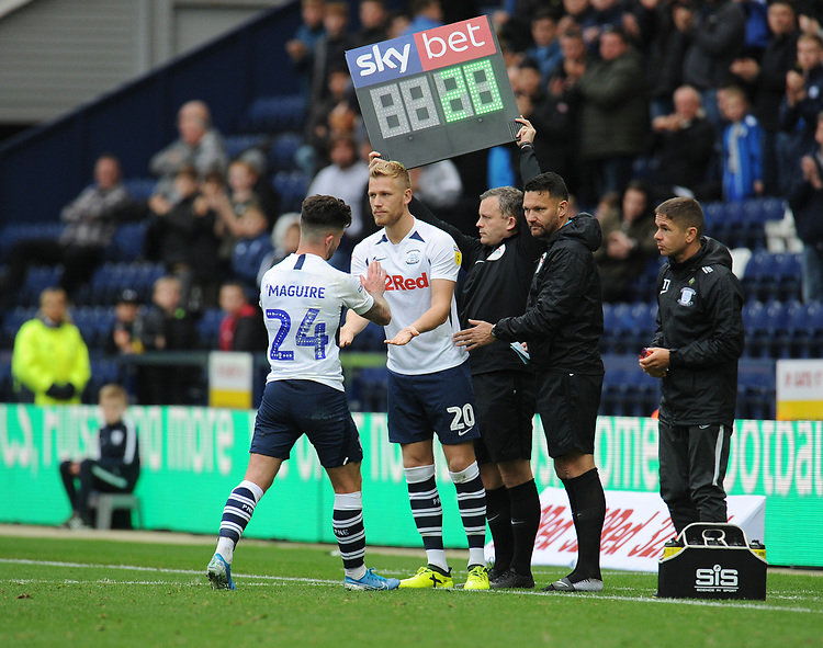 Preston North End's Jayden Stockley replaces Sean Maguire<br /> <br /> Photographer Kevin Barnes/CameraSport<br /> <br /> The EFL Sky Bet Championship - Preston North End v Barnsley - Saturday 5th October 2019 - Deepdale Stadium - Preston<br /> <br /> World Copyright © 2019 CameraSport. All rights reserved. 43 Linden Ave. Countesthorpe. Leicester. England. LE8 5PG - Tel: +44 (0) 116 277 4147 - admin@camerasport.com - www.camerasport.com