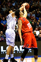 GRONINGEN - Basketbal, Donar - New Heroes, Martiniplaza,  Dutch Basketball League, seizoen 2017-2018, 03-12-2017,  Den Bosch speler Stefan Wessels in duel met Donar speler Sean Cunningham
