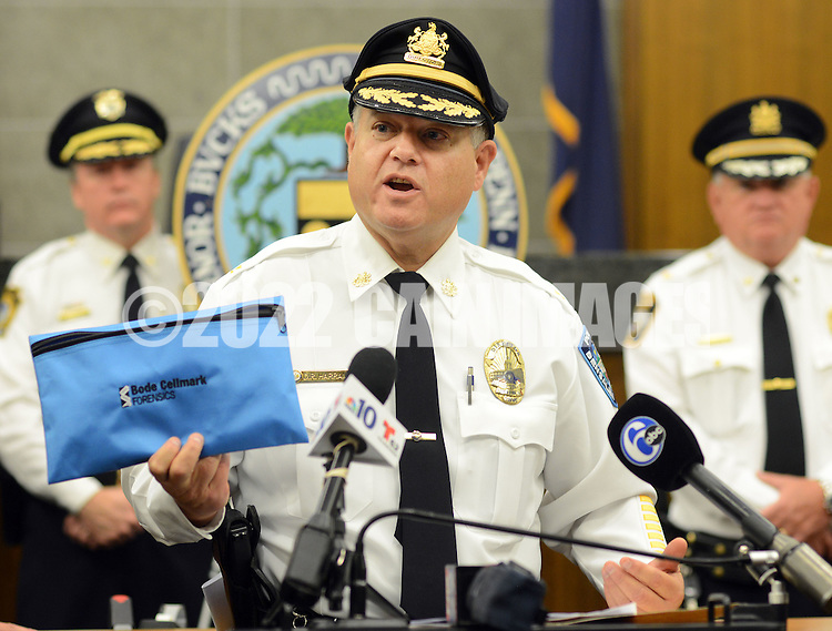 "Bensalem Director of Public Safety Fred Harran (center) holds a DNA packet as he announces the launch of a new initiative in the field of DNA testing called ""BodeHITS"", which is a Multi-Jurisdictional Countywide Local DNA Database program at the Bucks County Justice Center Tuesday October 6, 2015 at Doylestown, Pennsylvania. (Photo by William Thomas Cain)"