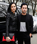 Leigh Lezark and Geordon Nicol leave the Emporio Armani fashion show as part of the Milan Fashion Week Men's wear Fall/Winter 2015/2016, in Milan on February 27, 2015.