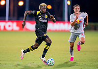 16th July 2020, Orlando, Florida, USA;  Columbus Crew forward Gyasi Zerdes (11) runs with the ball during the MLS Is Back Tournament between the Columbus Crew SC versus New York Red Bulls on July 16, 2020 at the ESPN Wide World of Sports, Orlando FL.
