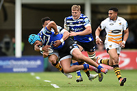 Zach Mercer of Bath Rugby is tackled to ground. Gallagher Premiership match, between Bath Rugby and Wasps on May 5, 2019 at the Recreation Ground in Bath, England. Photo by: Patrick Khachfe / Onside Images