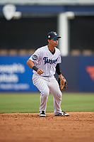Tampa Tarpons shortstop Oswaldo Cabrera (3) during a Florida State League game against the Lakeland Flying Tigers on April 7, 2019 at George M. Steinbrenner Field in Tampa, Florida.  Tampa defeated Lakeland 3-2.  (Mike Janes/Four Seam Images)