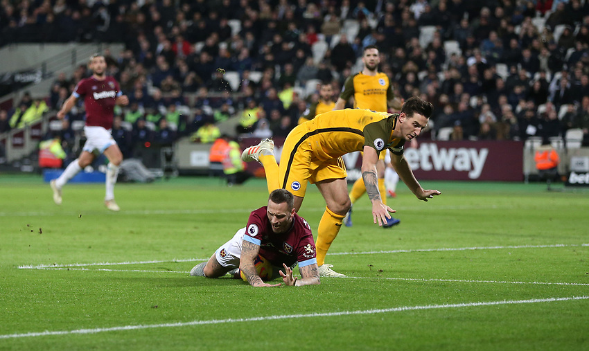West Ham United's Marko Arnautovic is brought down in the penalty box by Brighton & Hove Albion's Lewis Dunk but no penalty was awarded<br /> <br /> Photographer Rob Newell/CameraSport<br /> <br /> The Premier League - West Ham United v Brighton and Hove Albion - Wednesday 2nd January 2019 - London Stadium - London<br /> <br /> World Copyright © 2019 CameraSport. All rights reserved. 43 Linden Ave. Countesthorpe. Leicester. England. LE8 5PG - Tel: +44 (0) 116 277 4147 - admin@camerasport.com - www.camerasport.com