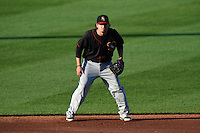 Quad Cities River Bandits shortstop Dayne Parker (27) during a game against the Cedar Rapids Kernels on August 19, 2014 at Perfect Game Field at Veterans Memorial Stadium in Cedar Rapids, Iowa.  Cedar Rapids defeated Quad Cities 5-3.  (Mike Janes/Four Seam Images)