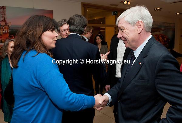 Brussels-Belgium - April 24, 2013 -- 'A Marshall Plan for Europe', a presentation / speech by Michael SOMMER (ri), President of the German Trade Union Confederation (DGB, Deutscher Gewerkschaftsbund), at the Representation of Baden-Württemberg to the EU; here, with MEP Jutta STEINRUCK (le) -- Photo: © HorstWagner.eu