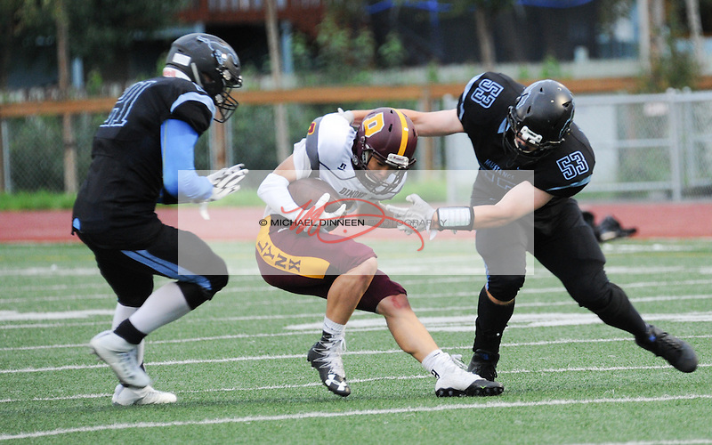 Derryk Snell and Cody Bailey wrap up a Dimond pass receiver at Dimond High Saturday.  Photo by Michael Dinneen for the Star.