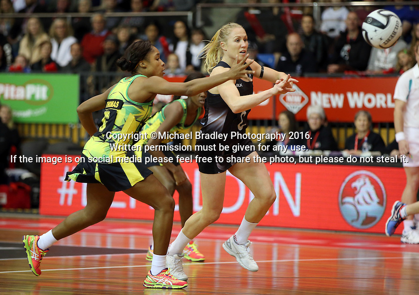 11.09.2016 Silver Ferns Laura Langman and Jamacia's Adean Thomas in action during the Taini Jamison netball match between the Silver Ferns and Jamaica played at Trafalgar Centre in Nelson. Mandatory Photo Credit ©Michael Bradley.