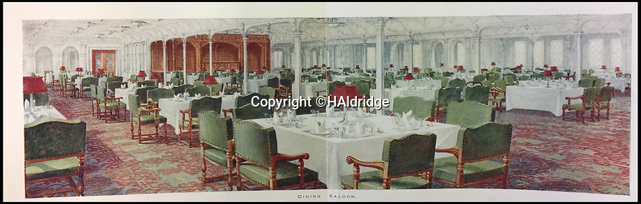 BNPS.co.uk (01202 558833)<br /> Pic: HAldridge/BNPS<br /> <br /> The dining saloon.<br /> <br /> Incredibly rare illustrations and photos of the opulent surroundings of the Titanic have come to light in two brochures which describe the doomed ship as 'practically unsinkable.'<br /> <br /> The colour drawings depict the plush accommodation and facilities that first and second class passengers enjoyed on the luxury liner.<br /> <br /> They offer rare glimpses of the promenade deck, reading room, swimming baths, smoking room, main staircase, the Turkish bath, state room and parlour suit accommodation, dining room and reception room.<br /> <br /> Alongside the images there is an equally scarce copy of the sailing schedule for the doomed ship, highlighting its 'lost' trans-Atlantic service.<br /> <br /> The itinerary shows the Titanic would have gone on to make four trips from Southampton to New York between April to July 1912 had it not sunk on its maiden voyage with the loss of 1,522 lives.<br /> <br /> The two brochures and sailing schedule have now been put up for sale 105 years after the tragedy. They have a pre-sale estimate of a combined £20,000.