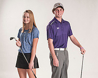 NWA Democrat-Gazette/ANTHONY REYES • @NWATONYR<br /> Brooke Matthews (left) of Rogers and Luke Long of Fayetteville Wednesday, Dec. 2, 2015 at the Northwest Arkansas Democrat Gazette office in Springdale. Long and Matthews are the golfers of the year.