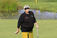Laura Davies (ENG) sinks her putt on 16th green during Thursday's Round 1 of The Evian Championship 2018, held at the Evian Resort Golf Club, Evian-les-Bains, France. 13th September 2018.<br /> Picture: Eoin Clarke | Golffile<br /> <br /> <br /> All photos usage must carry mandatory copyright credit (© Golffile | Eoin Clarke)