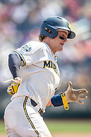 Michigan Wolverines catcher Joe Donovan (0) runs to third base during Game 11 of the NCAA College World Series against the Texas Tech Red Raiders on June 21, 2019 at TD Ameritrade Park in Omaha, Nebraska. Michigan defeated Texas Tech 15-3 and is headed to the CWS Finals. (Andrew Woolley/Four Seam Images)