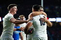 Manu Tuilagi of England celebrates his second half try with team-mates Tom Curry and Jamie George. Guinness Six Nations match between England and Italy on March 9, 2019 at Twickenham Stadium in London, England. Photo by: Patrick Khachfe / Onside Images