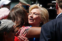 Hillary Clinton salutes her followers after her speech to crowd as she officially kicked off her 2016 campaign in New York.  06/13/2015. Kena Betancur/VIEWpress