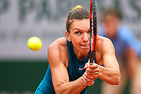 Simona Halep (ROU) in action during her first round match with Alison Riske (USA).  French Open Tennis Championships, Roland Garros, Paris, France 30th May 2018.