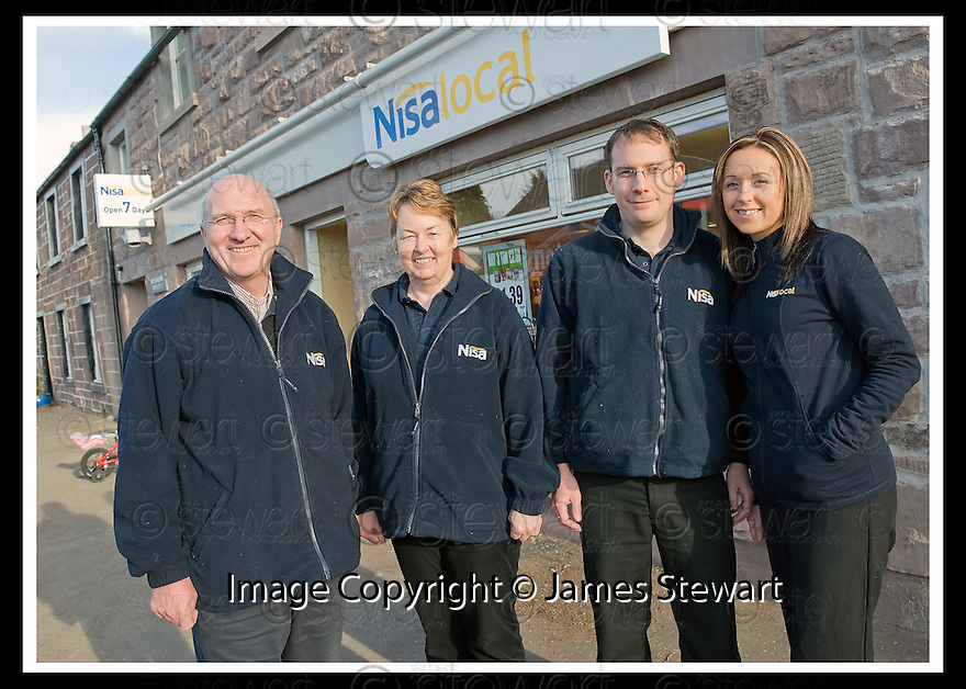 22/02/2010  Copyright  Pic : James Stewart.02_bankfoot_nisa  .::  NISA BANKFOOT :: BUSINESS PARTNERS ALISTAIR, ANN, FRASER AND CLARE JOHNSTON OUTSIDE THEIR STORE IN BANKFOOT ::.James Stewart Photography 19 Carronlea Drive, Falkirk. FK2 8DN      Vat Reg No. 607 6932 25.Telephone      : +44 (0)1324 570291 .Mobile              : +44 (0)7721 416997.E-mail  :  jim@jspa.co.uk.If you require further information then contact Jim Stewart on any of the numbers above.........