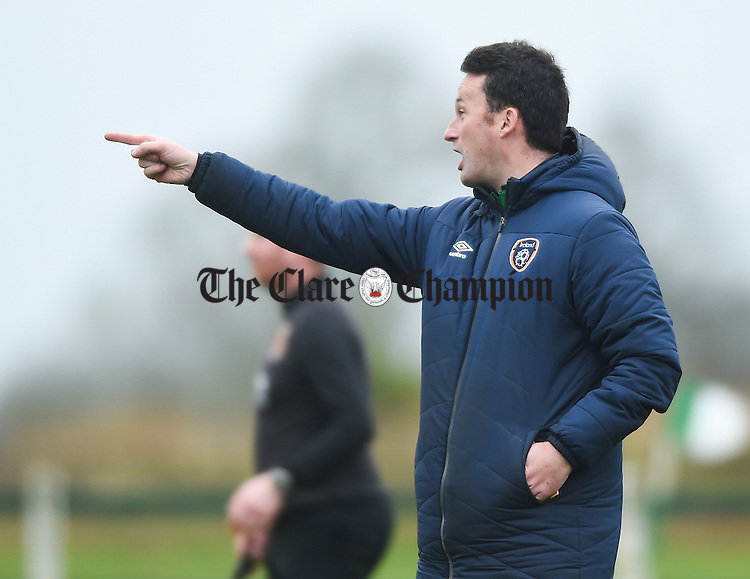 Clare mentor Denis Hynes  on the sideline during their FAI Oscar Traynor game against Limerick. Photograph by John Kelly.