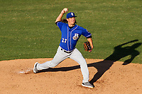Biloxi Shuckers pitcher Dylan File (27) delivers a pitch during a Southern League game against the Jackson Generals on June 13, 2019 at The Ballpark at Jackson in Jackson, Tennessee. Jackson defeated Biloxi 5-4. (Brad Krause/Four Seam Images)