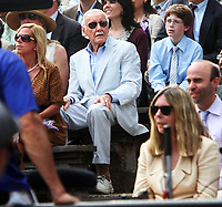 ^^^FILE PHOTO*** STAN LEE SUES FORMER COMPANY FOR ONE BILLION DOLLARS IN ALLEGED FRAUDULENT SALES AGREEMENT<br /> NEW YORK, NY - JUNE 2: Stan Lee shooting graduation day scenes on the set of The Amazing Spider-Man 2. New York City. June 2, 2013.