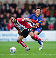 Lincoln City's Bruno Andrade battles with Sunderland's Luke O'Nien<br /> <br /> Photographer Andrew Vaughan/CameraSport<br /> <br /> The EFL Sky Bet League One - Lincoln City v Sunderland - Saturday 5th October 2019 - Sincil Bank - Lincoln<br /> <br /> World Copyright © 2019 CameraSport. All rights reserved. 43 Linden Ave. Countesthorpe. Leicester. England. LE8 5PG - Tel: +44 (0) 116 277 4147 - admin@camerasport.com - www.camerasport.com