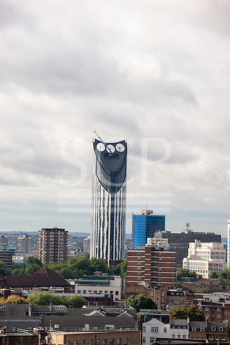 London, England. Strata SE1 high-rise building with three wind turbines, Elephant and Castle. Modern skyscraper.