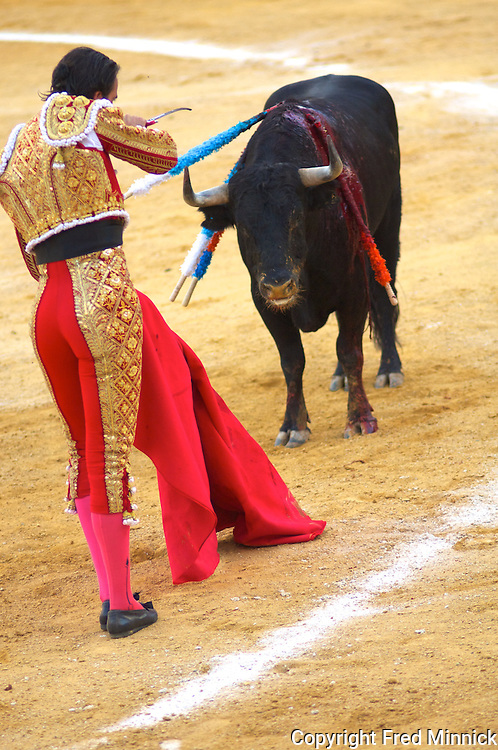 A bull fight in Alcazar de San Juan, Ciudid Real, Spain.