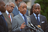 July 16, 2013  (Washington, DC)  Rev. Al Sharpton, president of the National Action Network, and national clergy, holds a news conference in front of the Department of Justice July 16, 2013, to call on DOJ to aggressively investigate civil rights violations in the Travon Martin case.  (Photo by Don Baxter/Media Images International)