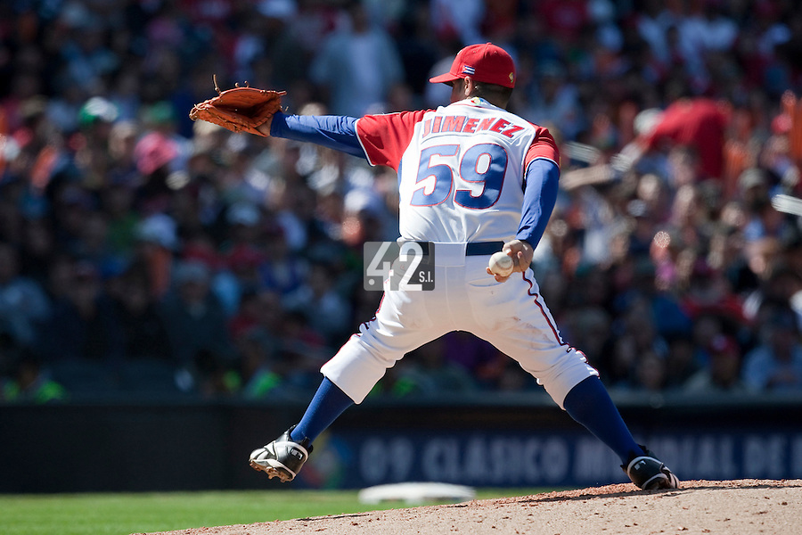 15 March 2009: #59 Ismel Jimenez of Cuba pitches against Japan  during the 2009 World Baseball Classic Pool 1 game 1 at Petco Park in San Diego, California, USA. Japan wins 6-0 over Cuba.