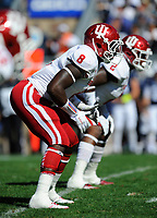 10 October 2015:  Indiana LB Tegray Scales (8) readies for the snap. The Penn State Nittany Lions defeated the Indiana Hoosiers 29-7 at Beaver Stadium in State College, PA. (Photo by Randy Litzinger/Icon Sportswire)